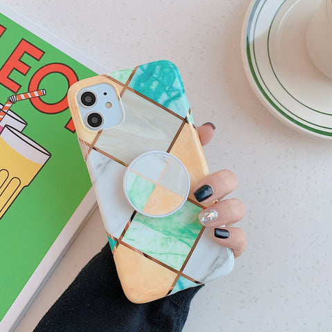 Rhombus Stitching Marble Phone Case for Samsung with Phone Holder gallery 7