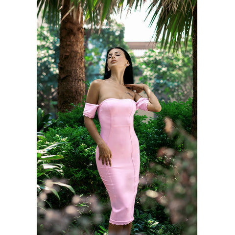 Sexy Square Neck Pale Pink Bandage Dress gallery 4