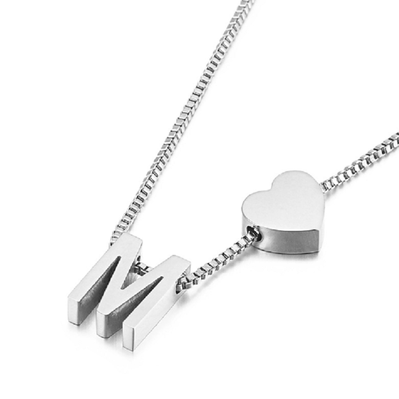 Silver Initial Heart Shape Pendant Necklace