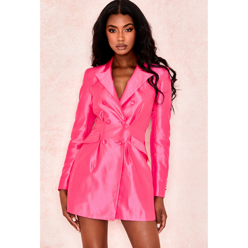 Satin Fuschia Slim Fitted Long Blazer