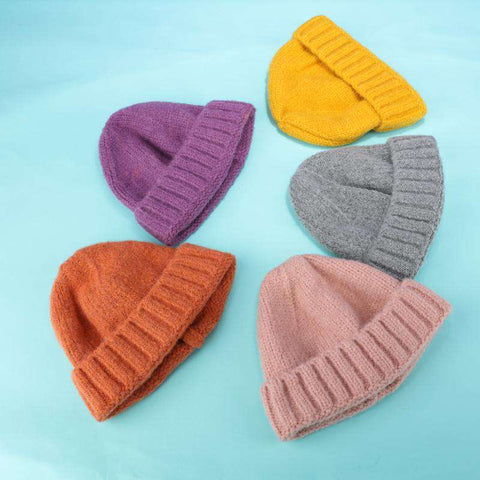 Solid-color Stitch Knit Beanie Hat gallery 12