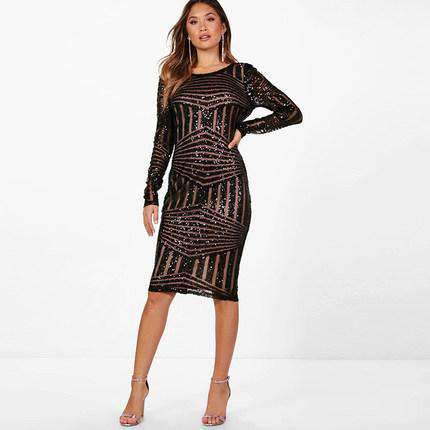 Full Sequined Sexy Slim Dress