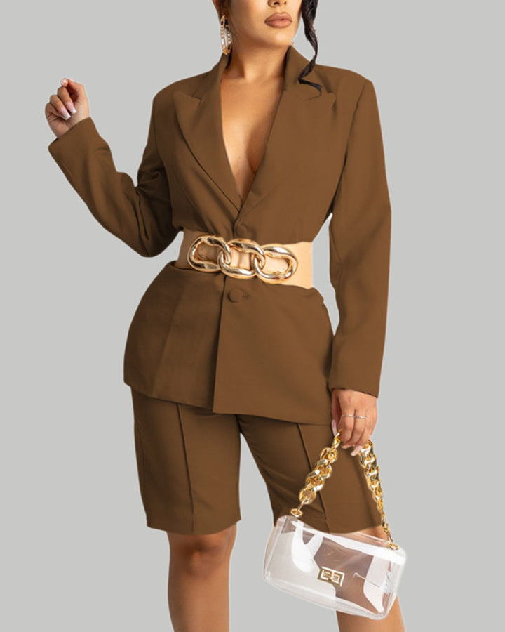 Solid Button Front Blazer & Shorts Set Without Belt gallery 5