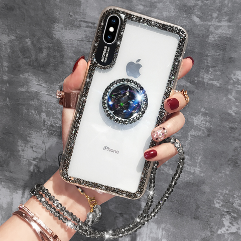 Luxury Crystal Stud Edge iPhone Case with Phone Holder and Hand Strap gallery 5