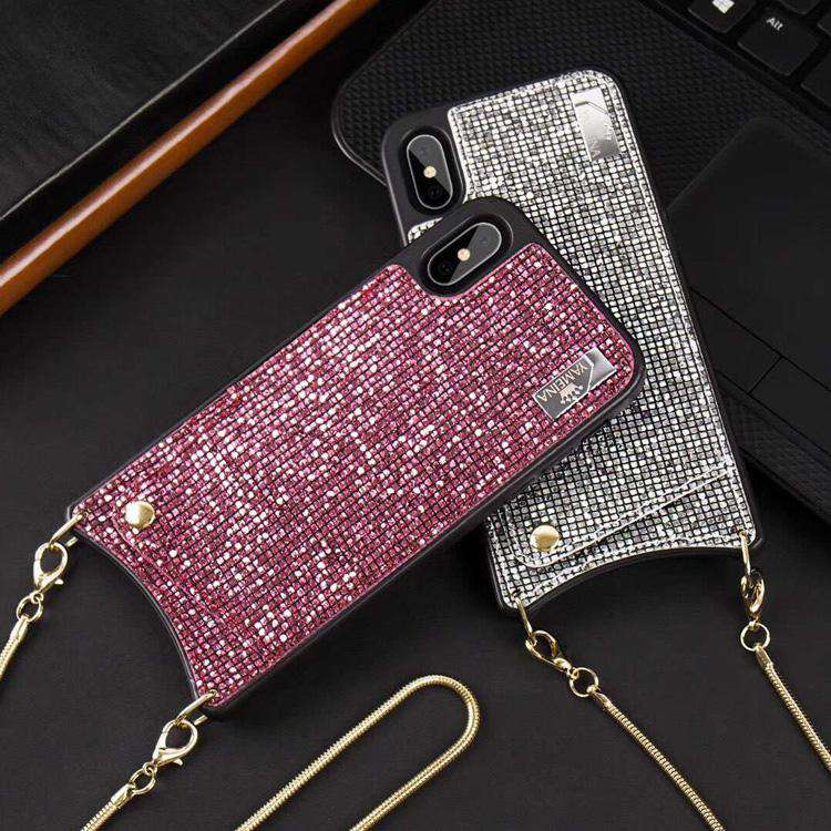 Glittering Chain Purse Style Case For iPhone With Card Holder