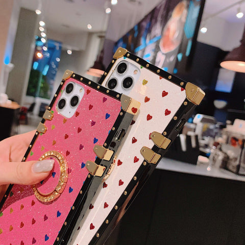 Glittering Little Heart Rivet Deco Square Phone Case for Samsung with Phone Holder gallery 5