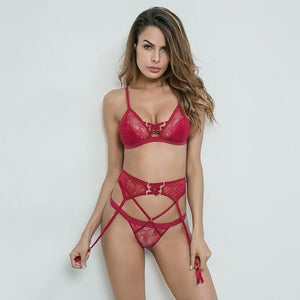 Sexy Floral Lace Cut-Out Garter Lingerie Set