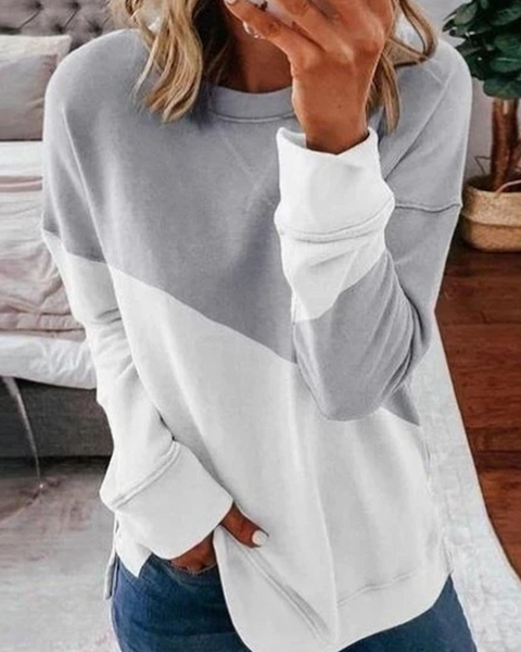 Color Block Split Hem Sweatshirt