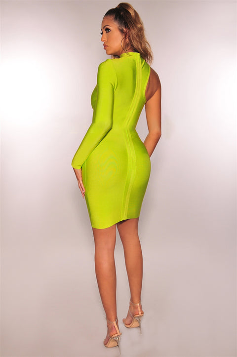Bandage One Shoulder Cut Out Midi Dress gallery 6