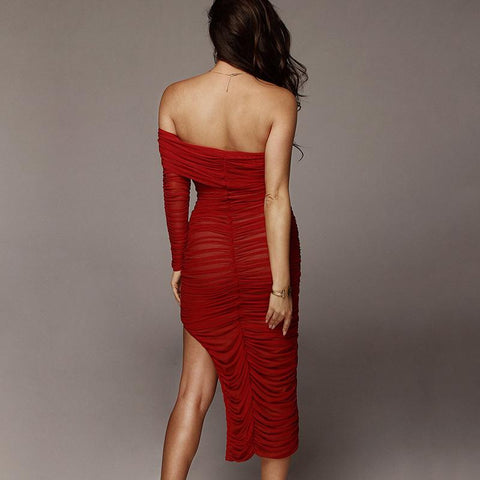 Chic One Sleeve Bandeau Mesh Ruched Split Side Bodycon Dress gallery 2