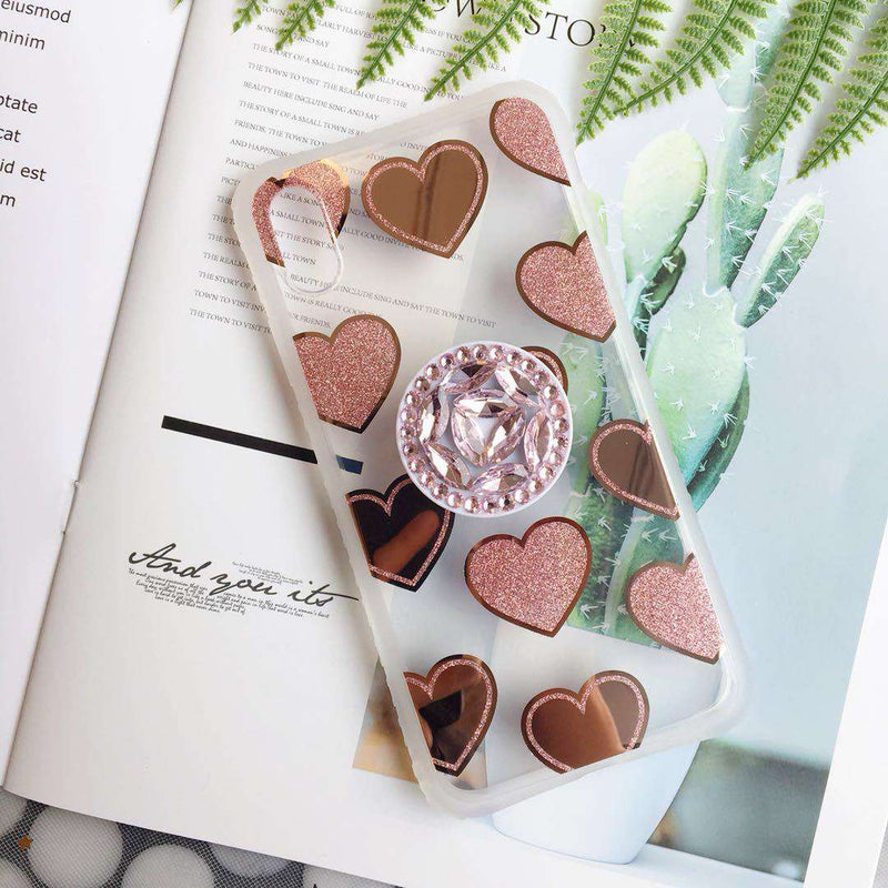 Romantic Heart Pattern iPhone Case with Phone Holder