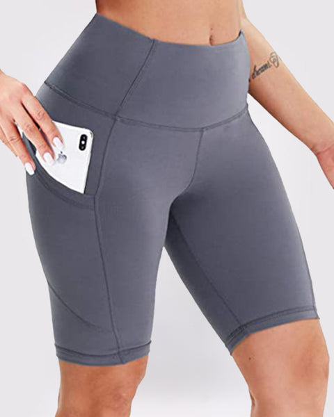 Solid Phone Pocket Butt Lifting Shorts gallery 2