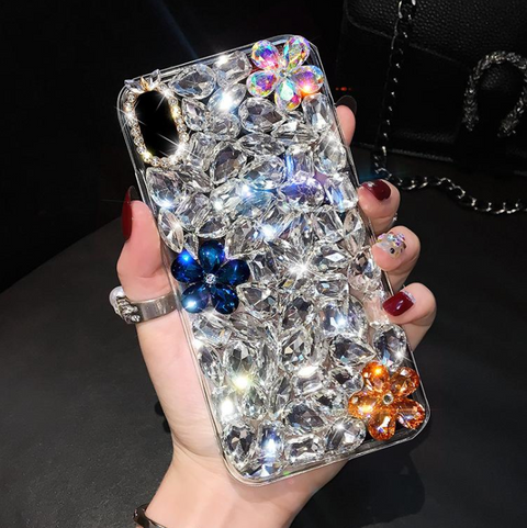 Glittering Floral Rhinestone Phone Case for Samsung gallery 7
