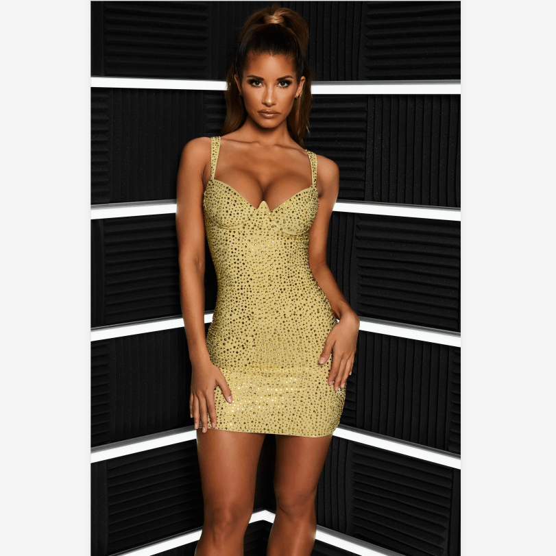 Solid Color Cup Detail Diamante Embellished Strappy Bodycon Dress