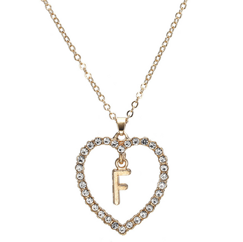 Gold Diamante Heart Shape Initial Pendant Necklace gallery 7