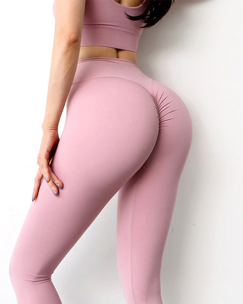 Ruched Wide Band Waist Sports Leggings