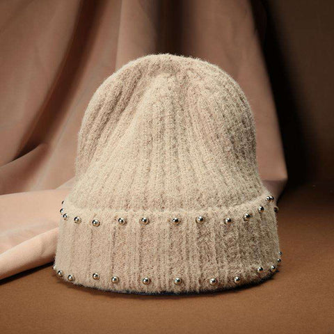 Punk Style Beaded Knit Beanie Hat gallery 2
