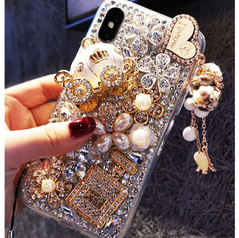 Luxury Bottle & Full Rhinestone Cover Phone Case for Samsung with Hand Strap gallery 4