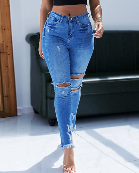 Butt Lifting Stretch Distressed Raw Hem Jeans