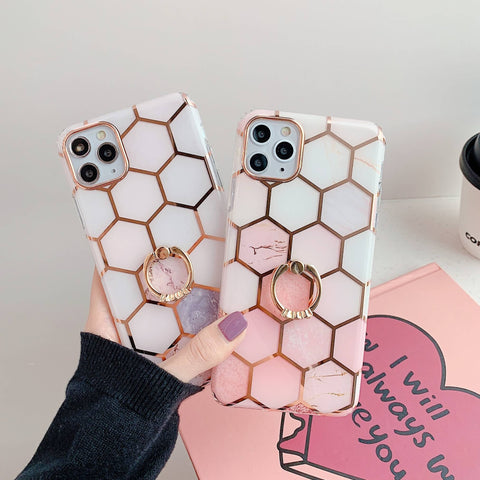 Gradient Electroplating Hexagon Pattern iPhone Case with Phone Holder