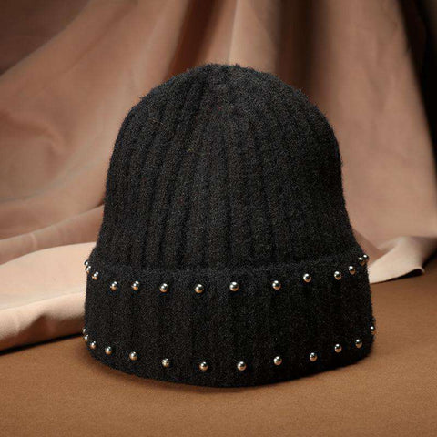 Punk Style Beaded Knit Beanie Hat gallery 1