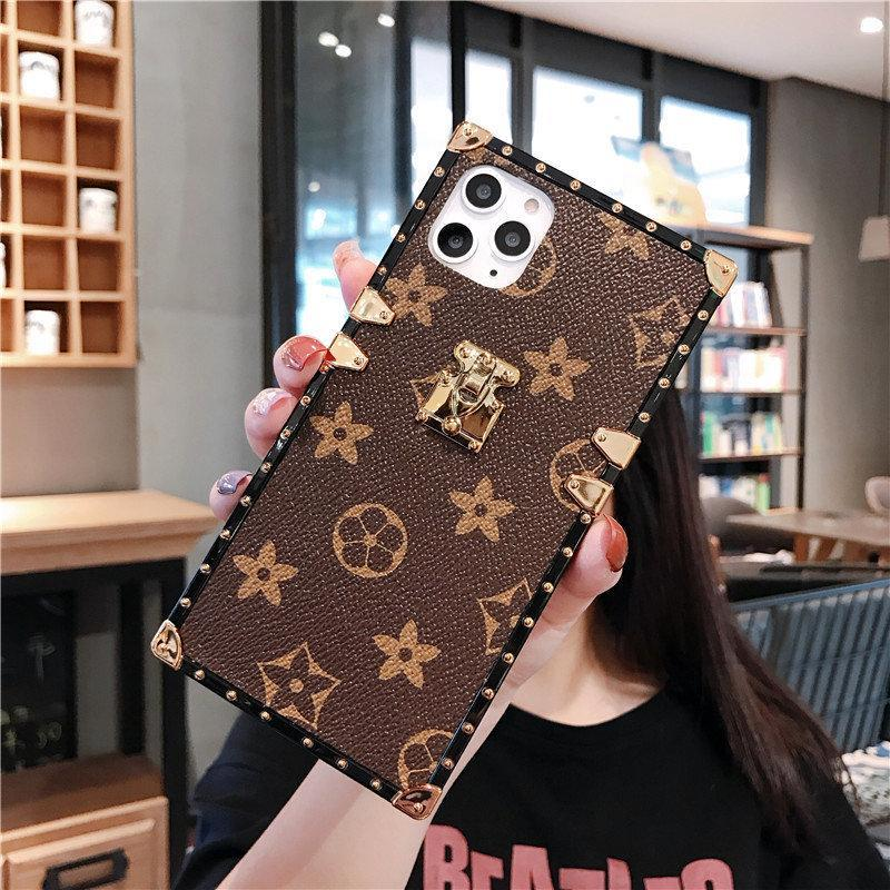 Floral Print Square Phone Case for Samsung with Hand Strap