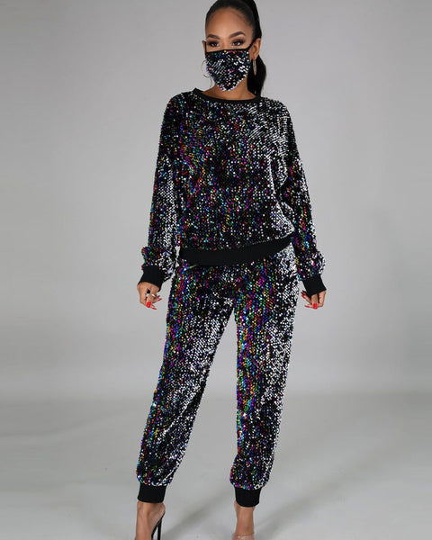Glitter Sequin  Drop Shouder Top & Pants Set With Face Mask
