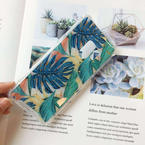 Tropical Eucalyptus leaves With Foil Print Phone Case For Samsung gallery 2