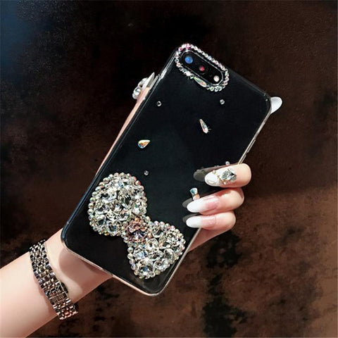 Bowknot Rhinestone Clear Transparent Phone Case for Samsung gallery 3