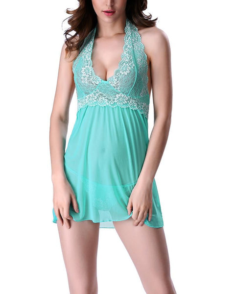 Floral Lace Sheer Mesh Scallop Slips & Thong gallery 20