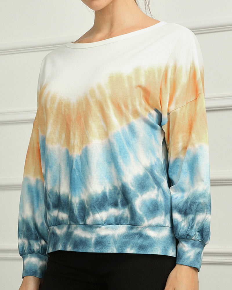 Split Hem Tie Dye Drop Shoulder Sweatshirt