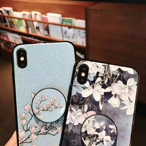 Literary Floral Pattern Phone Case for Samsung with Phone Holder gallery 6