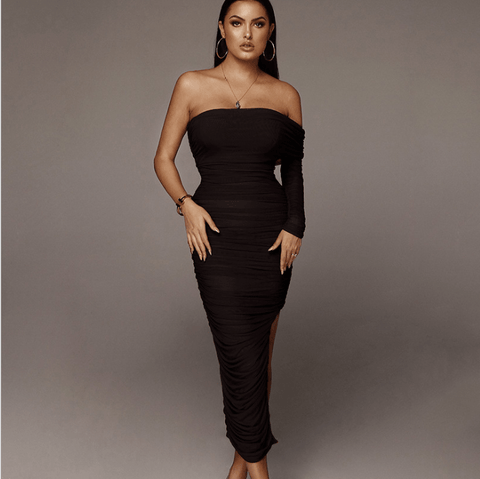 Chic One Sleeve Bandeau Mesh Ruched Split Side Bodycon Dress gallery 6