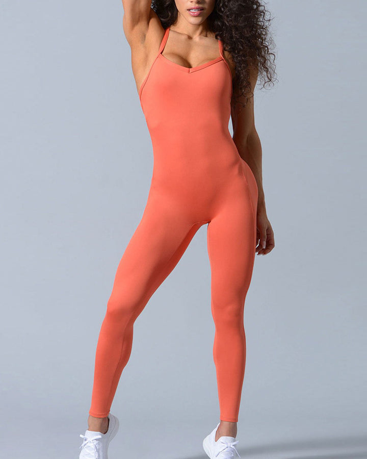 Criss Cross Cut Out Back Sports Jumpsuit gallery 12