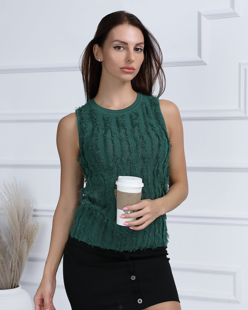 Cable Knit Raw Hem Sweater Vest