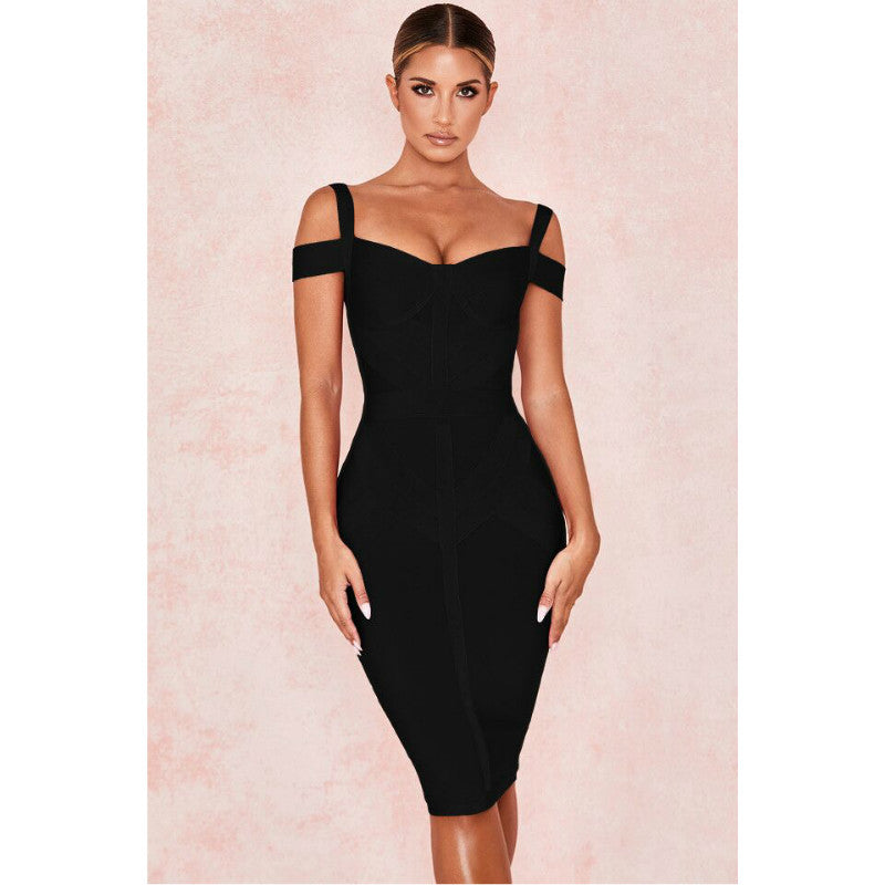 Bandage Off Shoulder Midi Dress