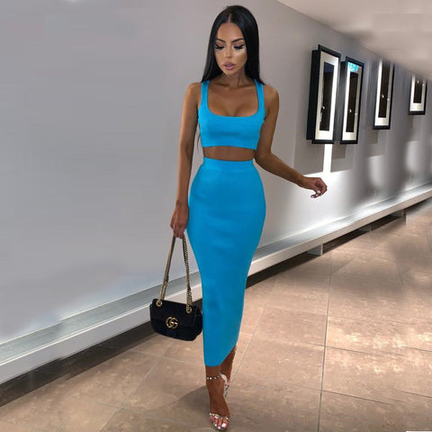 10 Colors Scoop Neck Cropped Top & Skirt Set gallery 10