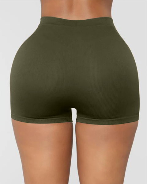 Solid Ribbed High Waist Shorts gallery 8