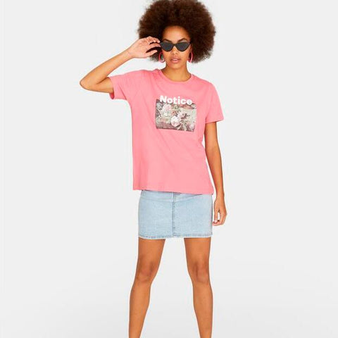 Pink Short Sleeve Print Fitted Tee gallery 3