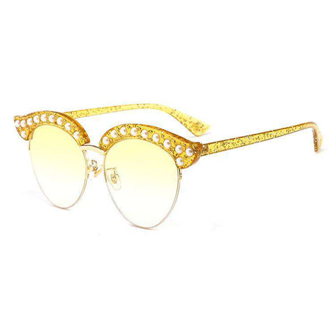 Vintage Wafer Lens With Pearl Side & Bee Detail Frame Sunglasses gallery 5