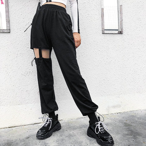 Asymmetric Cut Out High Waist Cargo Pants