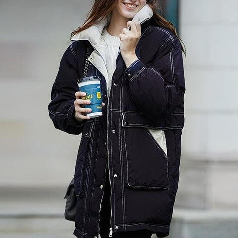 Casual Navy Blue Funnel Collar Contrast Cargo Puffer Jacket