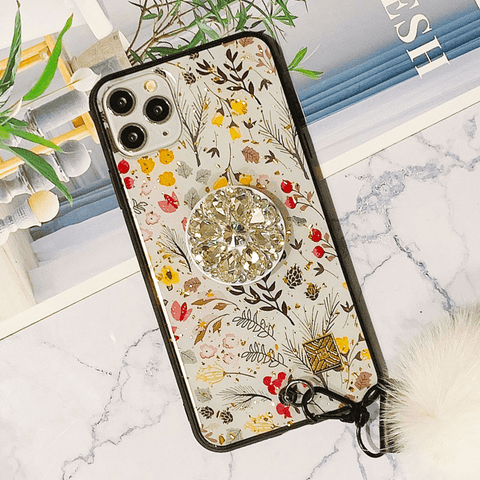 Beauty Floral&Leaf Pattern Design iPhone Case with Pom-pom and Phone Holder