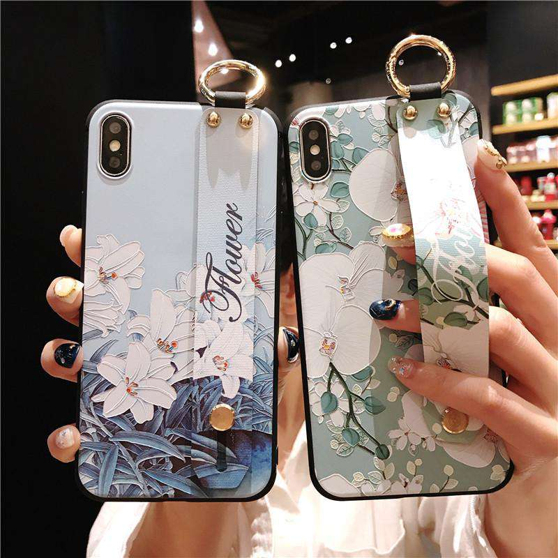Relief Floral Print Phone Case for Samsung with Wrist Strap