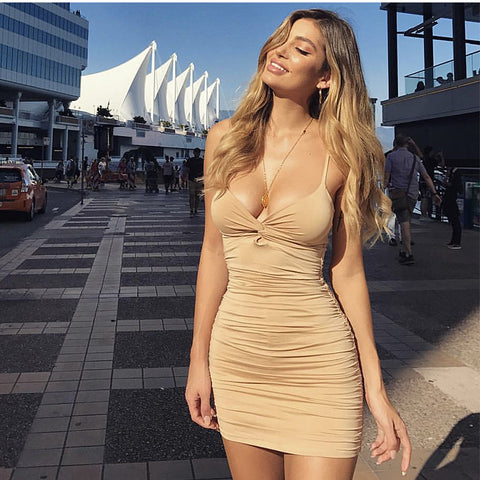 Sexy Ruched Deep-V Cut Front Bodycon Dress gallery 2