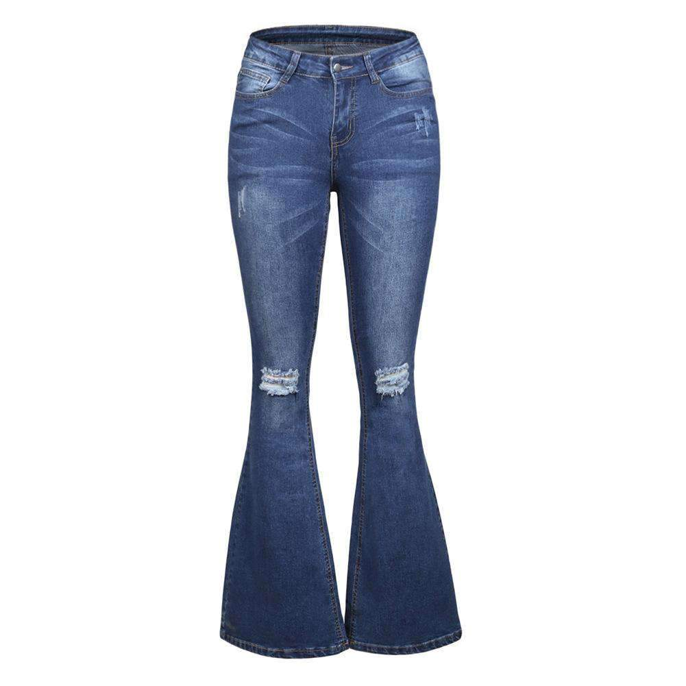 Big Size Women's Slim Straight Ripped Bell Bottom Denim Pant