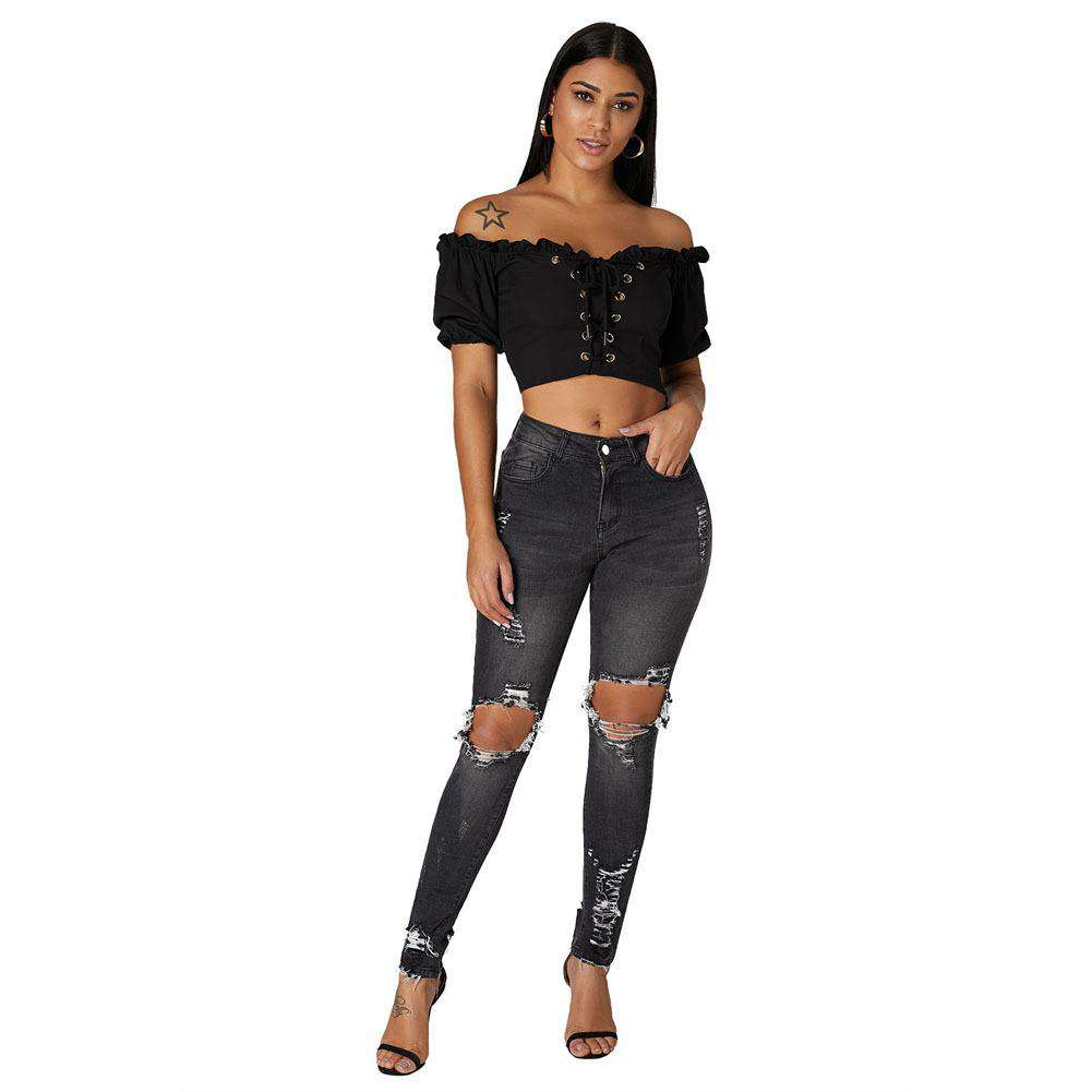 Middle Waist Women's Ripped Skinny Pencil Jeans