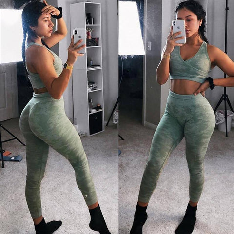 Chic Breathable Camou Print Yoga Sports 2 Pieces Set