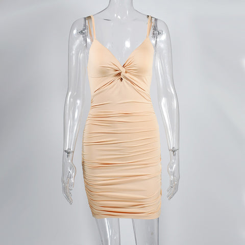Sexy Ruched Deep-V Cut Front Bodycon Dress gallery 7
