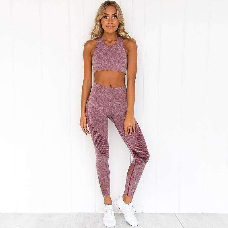 Chic Mesh Patchwork Breathable Sports Cami Top & Pants Yoga Set
